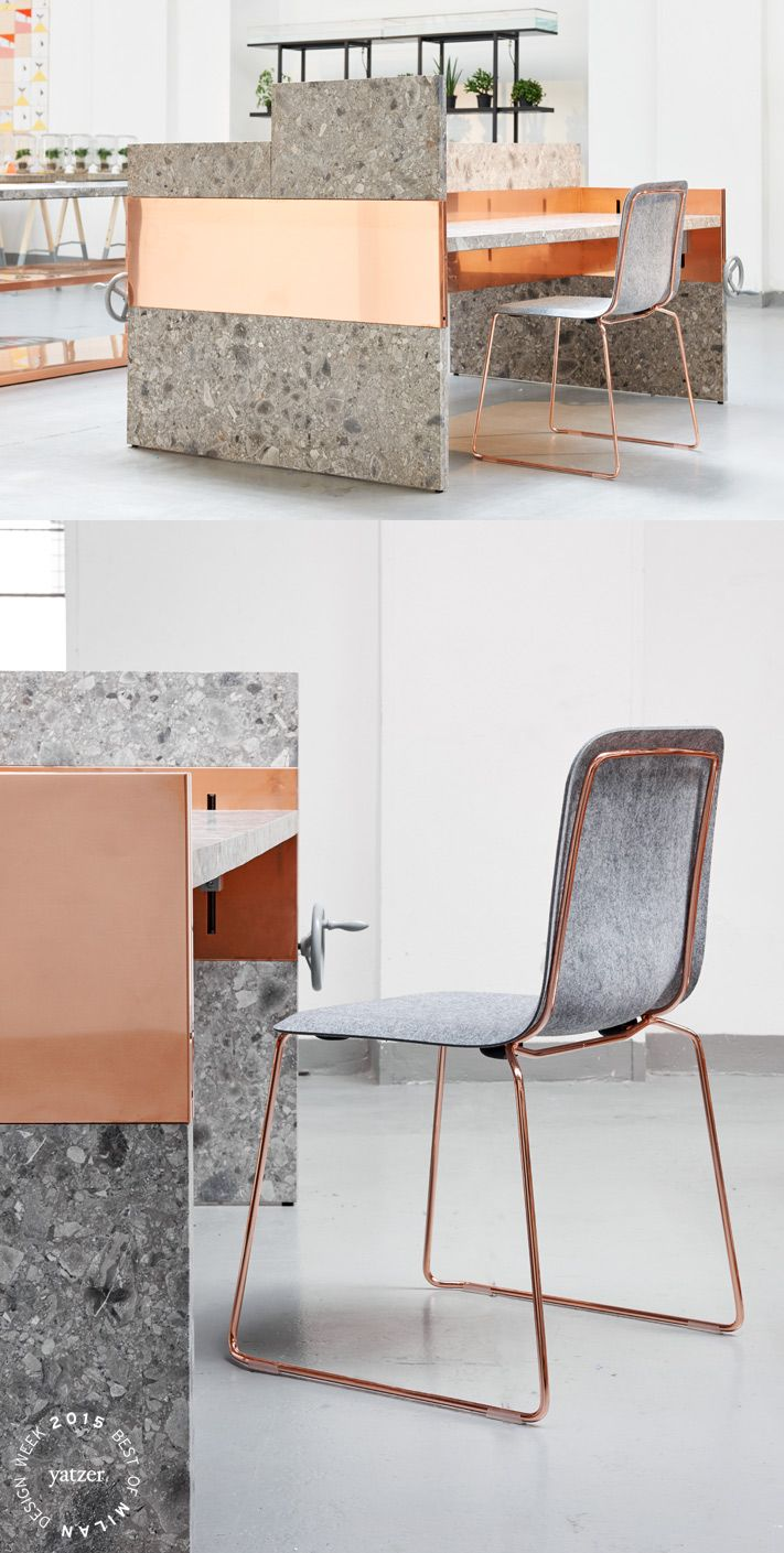 UNM (You and Me)byNina GraziosiforLensvelt.A no-nonsende system of workdesks whith the technique hidden in the central panel, which creates the ability for the architect to perform the side panels of the desk in any desired material. For example marble and copper.THIS CHAIR FELTby Richard Huttem forLensvelt.A 'renaissance'; of This Chair, the multifunctional chair that Richard Hutten designed for Lensvelt in 2005. The chair is born again... but now with a felt seating.