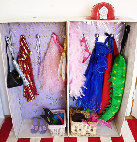 DIY Kids: Dress Up Wardrobe from a cardboard boxPrincesses Dresses, Dresses Up Clothing, Cardboard Boxes, Kids Dresses Up, Contact Paper, Dressup, Diy Kids, Storage Ideas, Dresses Up Storage