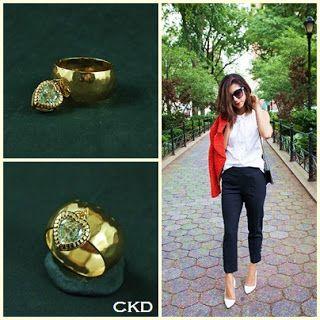 Anel martelado folheado a ouro com pingente coração! www.ckdsemijoias.com.br