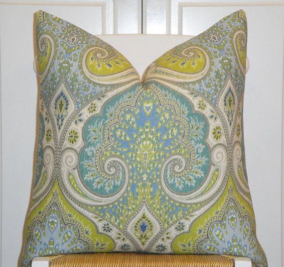 KRAVET - Decorative Pillow Cover - 18x18, 20 x 20 Or Lumbar - Aqua - Lime Green - Light Blue ...