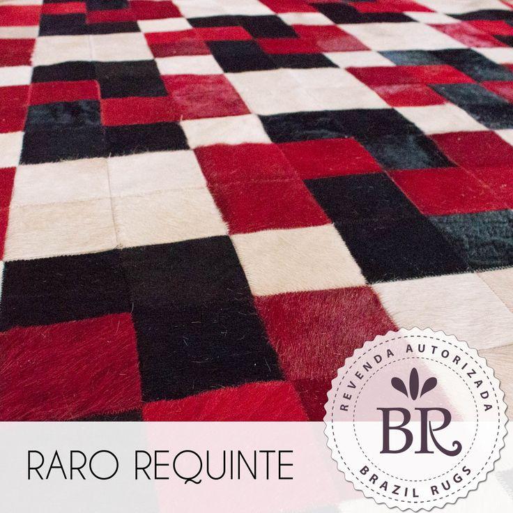 Tapete de Couro Quadriculado 10x10cm Tingido - Alcoa Marfim, Preto e Vermelho