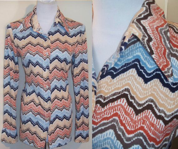 Chevron Blouse Shirt  Vintage 70s  L by GoodNPlentyVinty on Etsy, $19.99