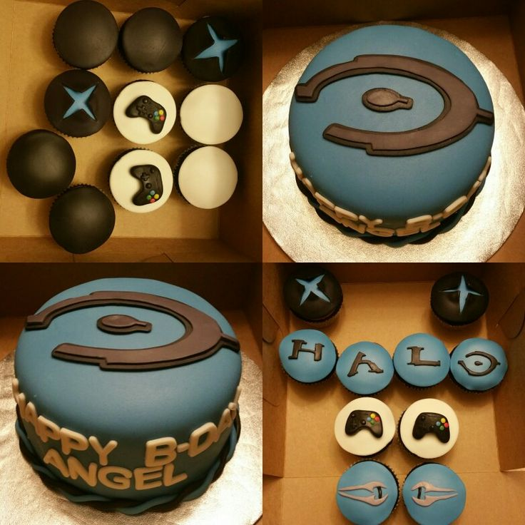 Halo themed cake with matching cupcakes