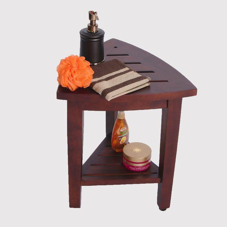 compact oasis teak corner shower bench with shelf