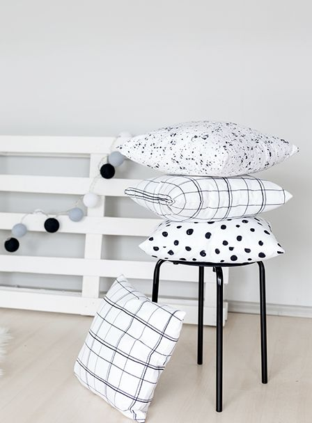 lovely minimalist cushions, black and white grid, polka dot pillows, scandinavian style interior living room bedroom