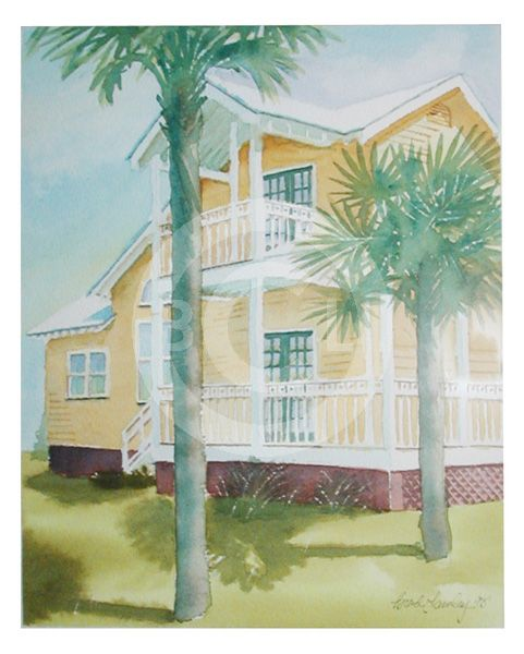 A watercolor of the Driftwood Inn Mexico Beach, Florida. A good friends motel. Painting by Brad C. Lawley