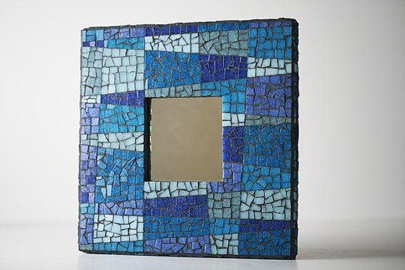 Espejo mosaico de cristal azul por MosaicMadness en Etsy