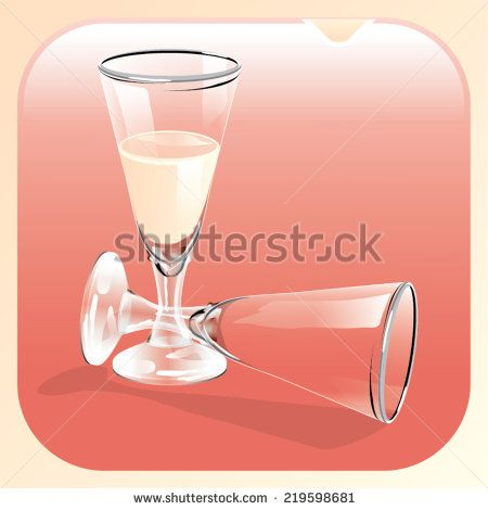 Illustration of a glass of champagne and an empty glass - stock vector