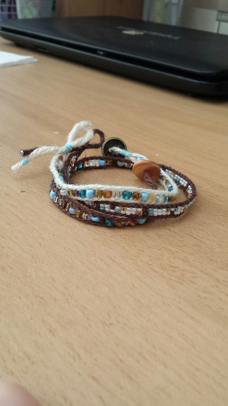 Beach theme wrap bracelet with beads