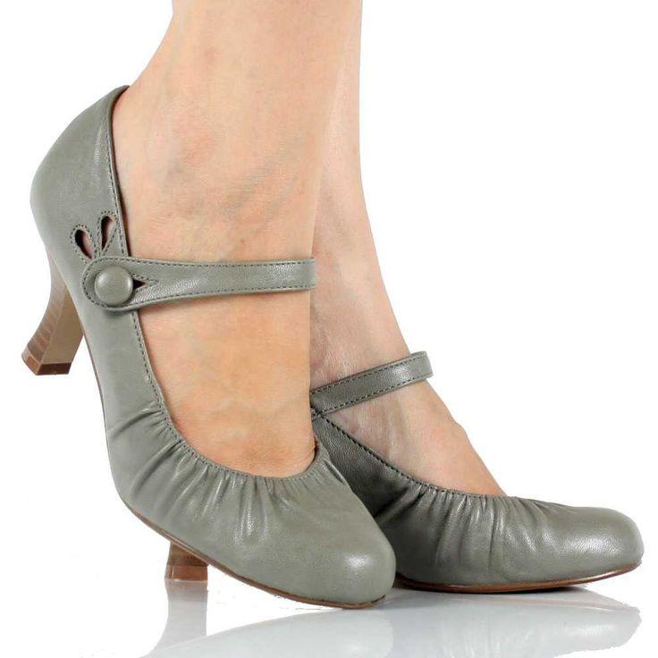 Gray Mary Jane Pump Kitten Heel Dress Womens Low Mid Heel ...
