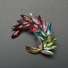 Новое Прибытие 2016 Цвета Смешивания Листьев Броши Для Женщин Multi-color Crytal Брошь Настоящее Позолоченные Свадебные Украшения Рождество подарок(China (Mainland))