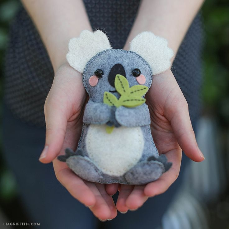 This handsewn felt koala bear stuffie is a great gift for the little lights of your life. Designed by handcrafted lifestyle expert Lia Griffith