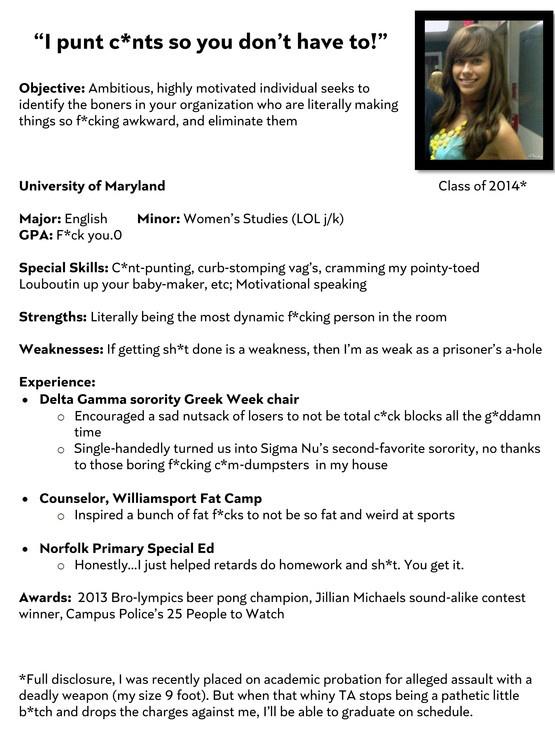 deranged sorority girl resume.