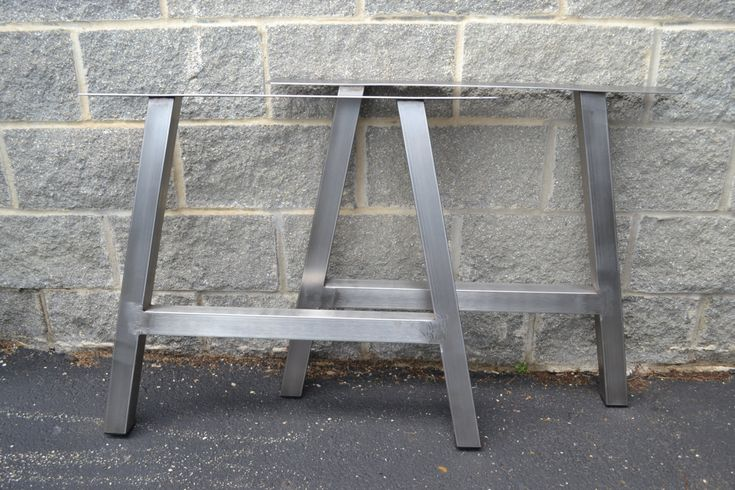 Build your own furniture with these custom legs! These unique table legs come with a brushed stainless steel finish. Made to ANY size up to 30x30. Price is PER SET of legs. Legs come standard with rubber inserts in the feet to protect the floor and with an industry leading top mounting plate size o