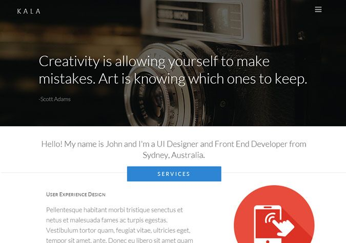 Kala is a free One Page Responsive Theme. Kala is powered with Semantic UI Framework.