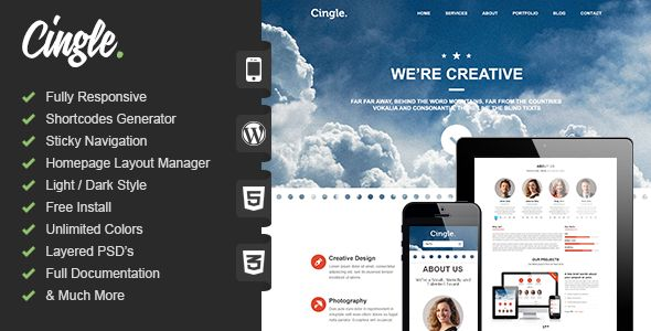 Cingle | Responsive One Page WordPress Theme - Portfolio Creative