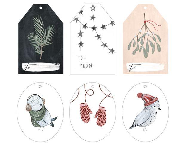Etiquettes pour cadeaux de Noël Kelly Murray via Nat et nature