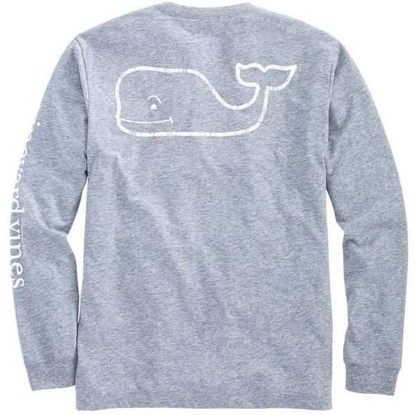 Vineyard Vines Vintage Whale Heather Pocket T-Shirt in Heather Grey ($48) ❤ liked on Polyvore featuring tops, t-shirts, heather gray t shirt, heather tee, pocket tops, pocket t shirts and vintage t shirts