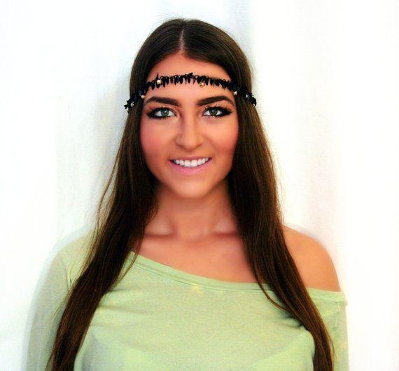Black & Crystals Gypsy Crown- Hair Jewelry, Chain Headpiece, Bohemian Headband, Hippie Headband, Black Gypsy Halo, Hipster Headband, Grecian via Etsy