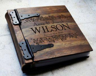 Unique Wood Wedding Photo Album, Monogrammed Personalized Wedding Album, Large Custom Personalized Wood Book, Unique Gift Idea, Wooden Book