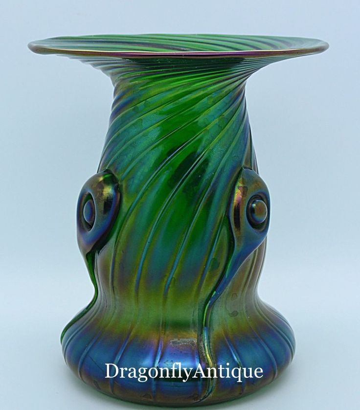 SUPERB Art Nouveau Iridescent Bohemian Green Ribbed Vase. For your consideration this superb example of Czech/Bohemian blown glass vase from the Art Nouveau era - possibly Loetz. This example is iridescent green glass with a ribbed design attributed to Loetz and dating from around 1905. | eBay!