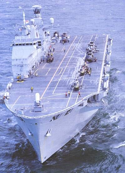 HMS Ocean was commissioned in September 1998 at Devonport in Plymouth. LPH01 Ocean helicopter carrier with six helicopters on its deck. - Image - Naval Technology