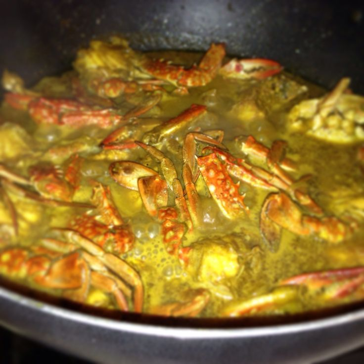 Crab curry made w/ coconut milk (Guyanese dish)