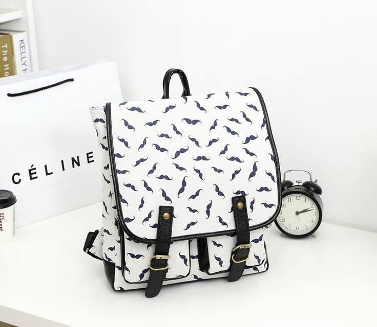 Miss Sweety - Mustache-Print Backpack #backpack #mustacheprintbackpack #mustache