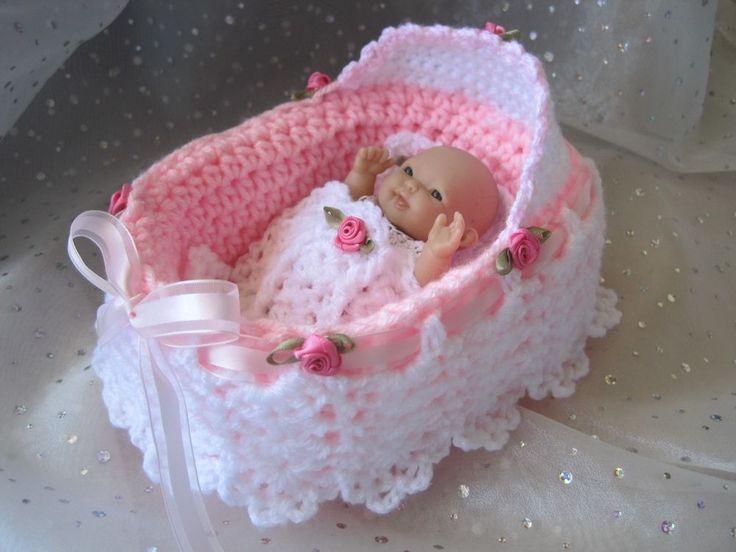 """Sweet BASINETTE for 5"""" Berenguer Dolls -Hand Crocheted - NEW"""