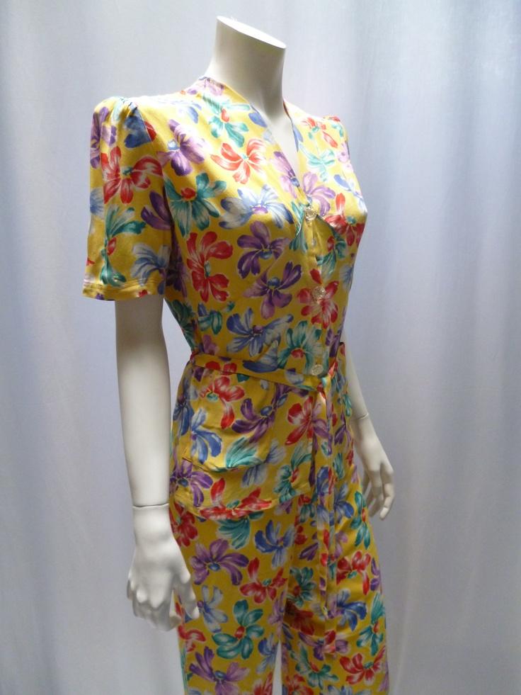 1940s print shirt and palazzo pants