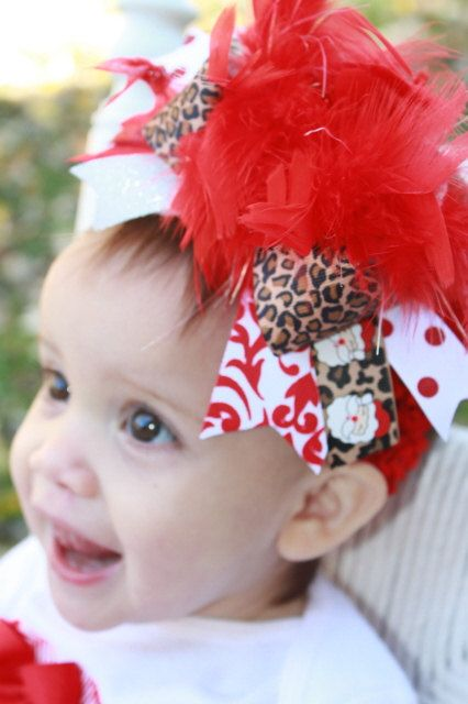 Over The Top Boutique Christmas Santa Baby Diva Bow -- Decorate Her for Christmas. $19.95, via Etsy.