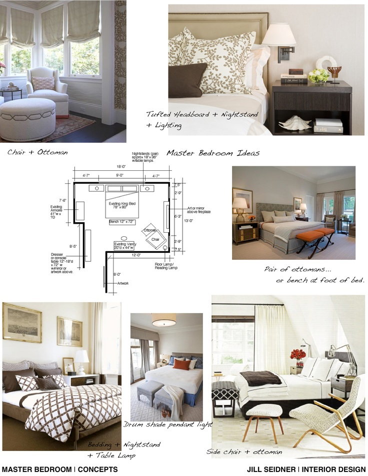 Concept board and furniture layout for a master bedroom for Furniture board