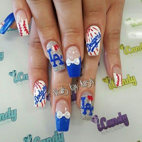 Dodgers baseball coffin acrylic nails nail art