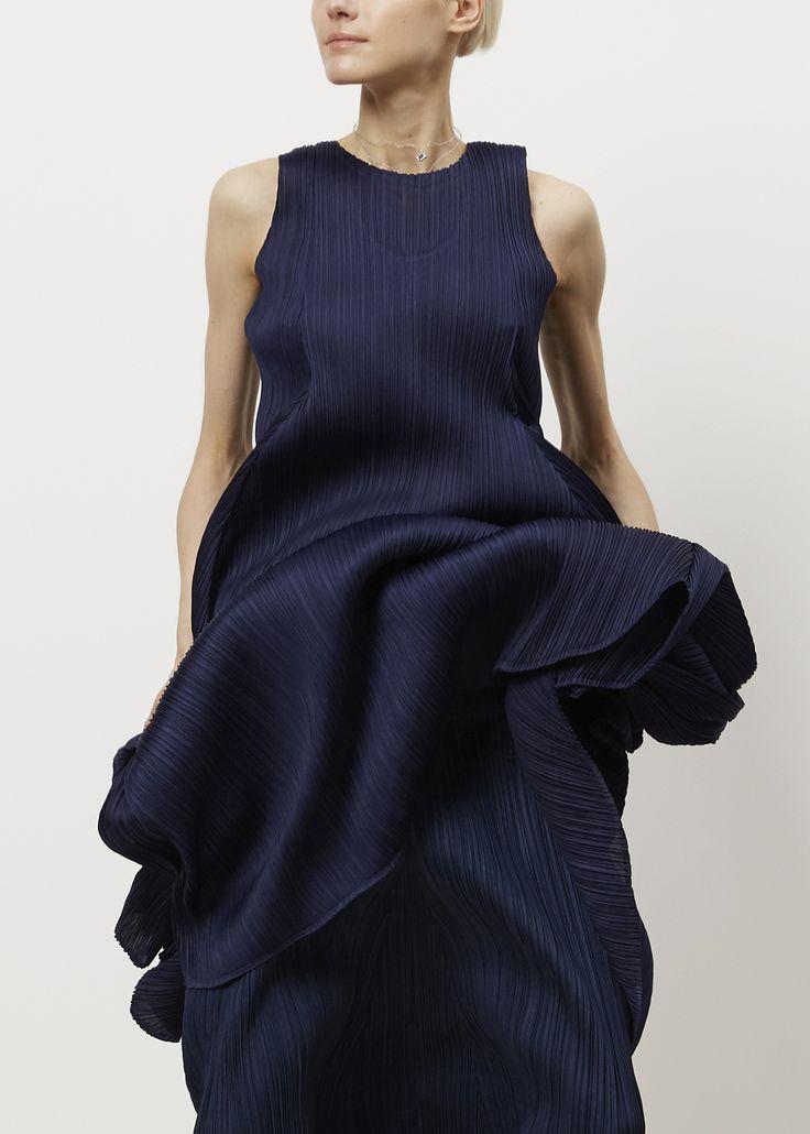 Issey Miyake PLEATS PLEASE Full Sleeveless Dress (Navy)
