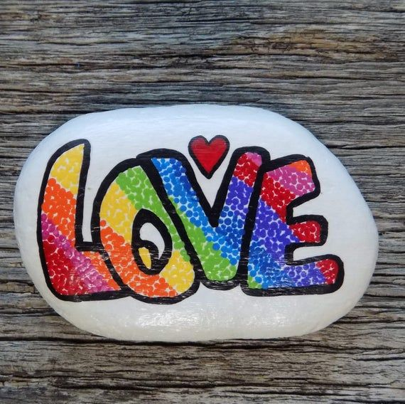 Love Painted Rock Decorative Accent Stone Paperweight Rock