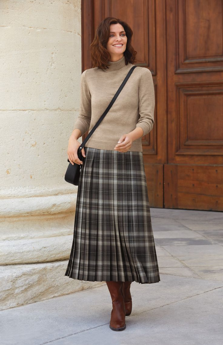Checked Pleated Skirt | Cotswold Collections