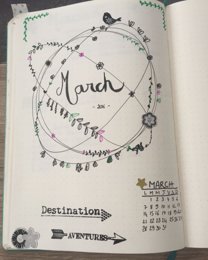 Pages mensuelles décorées: les pages qui font du bien sur http://inventetaplume.com