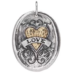 Waxing Poetic Oval Love Pendent Charm, Waxing Poetic Jewelry