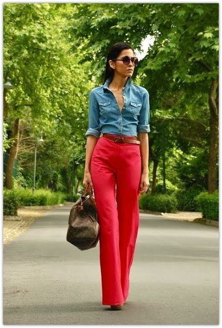 Red Pant Addiction , to combine with a denim shirt and big belt