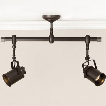 Track lighting options to stretch the light from the center of the bathroom over to the shower