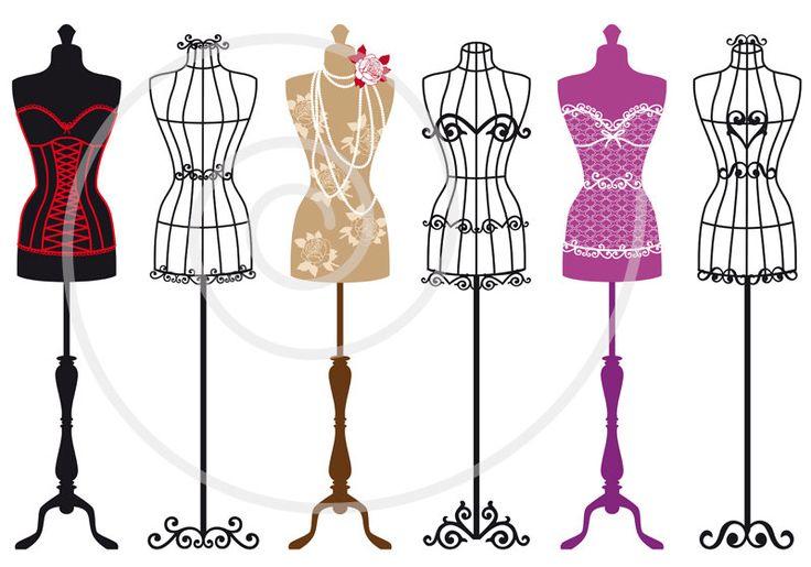 Set of vintage mannequin silhouettes, dress forms,tailor's dummy, fashion illustration, digital clip art for shops or home decoration