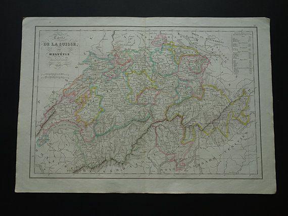 1843 SWITZERLAND old map of Switzerland  by VintageOldMaps on Etsy