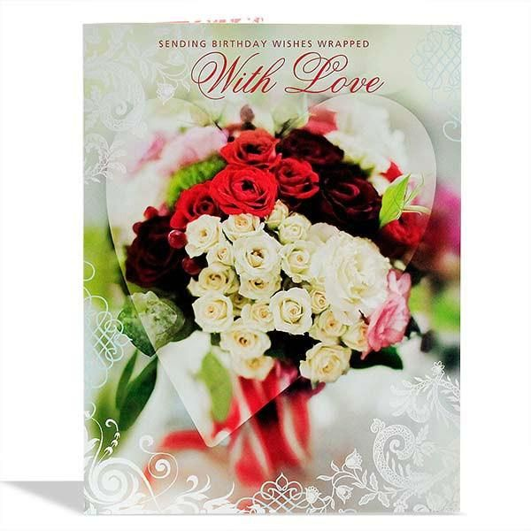 Birthday Wishes With Love Jumbo Card Sending Birthday Wishes Wrapped With Love. Card Size : Height : 22.5 inch Length : 17.5 inch | Rs. 374 | Shop Now | https://hallmarkcards.co.in/collections/shop-all/products/online-birthday-greeting-cards