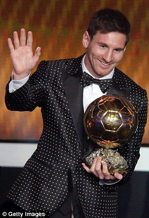 Lionel Messi wears polka dot suit like Diego Maradona for Ballon d'Or 2013 | Mail Online