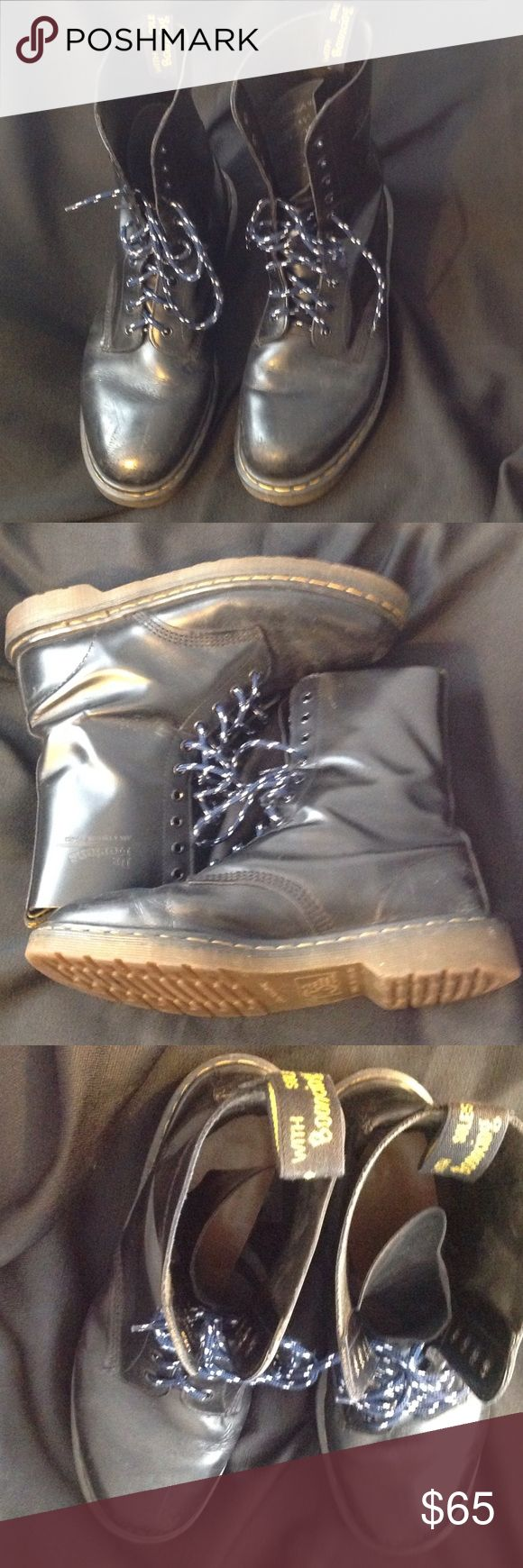 """Black Dr Martens Boots Made in England..Genuine DocMartens....AirWair.9"""" tall...great condition.no sole wear. Dr. Martens Shoes Boots"""
