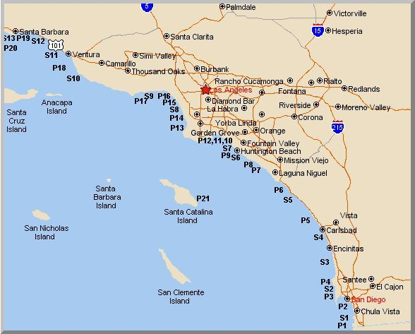 Surf Beach California Map.Map Of California Pier And Surf Fishing Spots California Fishing