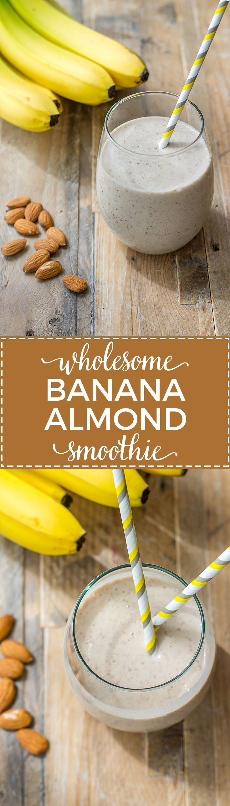 Wholesome banana almond milk smoothie with flax seeds, vanilla, and cinnamon. Like a healthy milkshake! #smoothierecipes #almondmilk