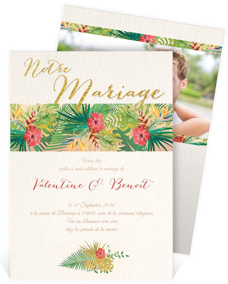 Faire part mariage exotique qui fera voyager vos proches lors du plus beau jour de votre vie, ref N241108