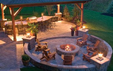 entertaining patio designs | landscape patio design plans... who needs a house with this patio? I'd sleep in a hammock or tent.