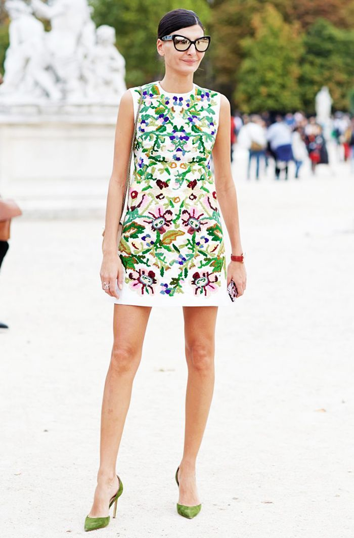 Print dress and green shoes